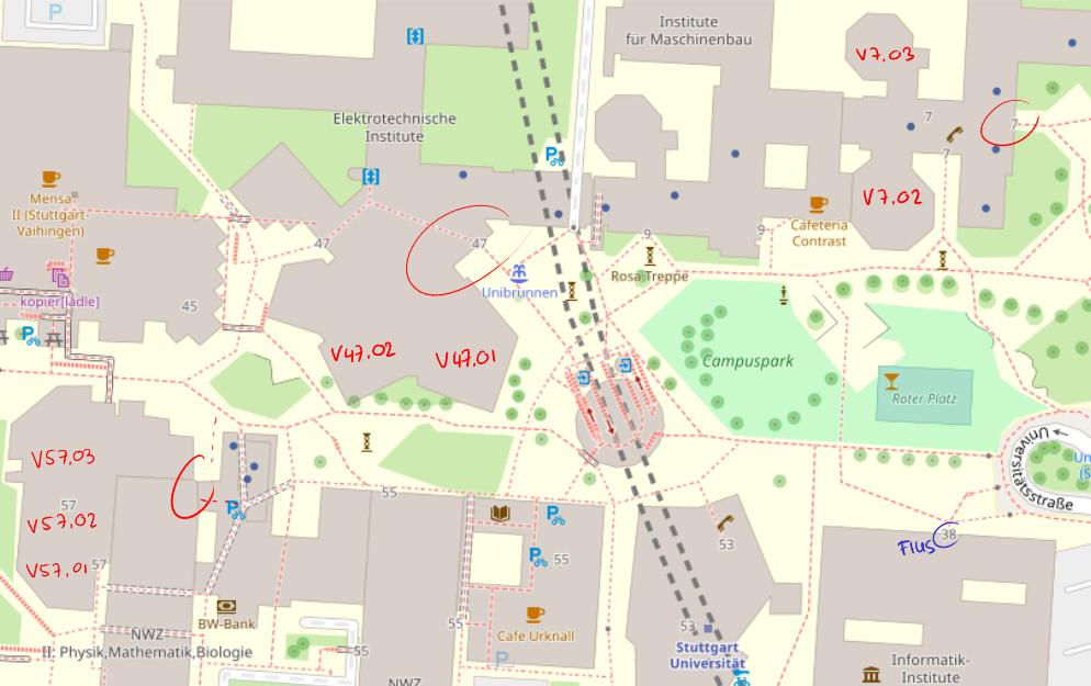 Karte von Campus Vaihingen mit den für den Theo Vorkurs relevanten Hörsälen eingezeichnet